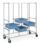 Metro® PT3C-5M - Triple Bay Kitting Cart Resilient Rubber Casters